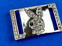 """3"""" silver tone rhinestone covered playboy? bunny belt buckle - black eye"""
