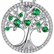 Fashion Tree 925 Silver Necklace Pendant for Women Cubic Zircon Jewlery Gift