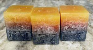 Handcrafted Textured 2 3/8 TROPICAL PARADISE SUNSET Layered Pillar Candle SET