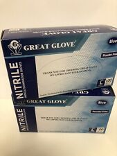 2 Boxes Nitrile powder-free disposable medical gloves Great Glove Blue Large