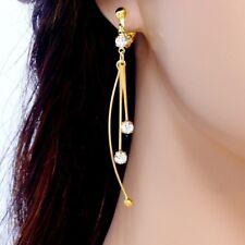 #E844A NON-PIERCED CLIP ON Curve Tassel screw back Earrings Gold Plated 6.5cm