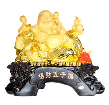 Feng Shui Golden Happy Money Buddha with 5 Children and Money Frog