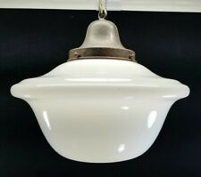 Antique Early 1900s Large White Glass Hanging Ceiling Lamp For Commercial Space
