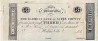 1810's $3 The Farmers Bank of Bucks County, Hulme Ville, PA – CRISP