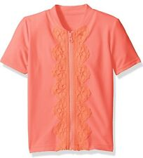 New! Girls SEAFOLLY Zip Rashie Short Sleeve Rash Guard , Wmelonpink, Size 6T
