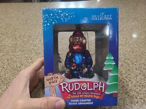 Brass Key Yukon Cornelius Rudolph Island Of Misfit Toys Glass Ornament-in Box