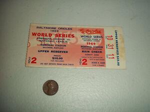 1969 WORLD SERIES BALTIMORE ORIOLES VS NEW YORK METS BASEBALL TICKET STUB GM #2