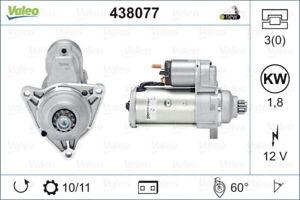 Valeo Starter Motor 438077 fits Volkswagen Multivan 2.0 TDI 103kw
