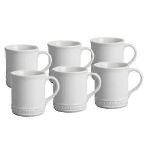 Le Creuset Stoneware Coffee Mug 400ml Pack of 6 White Dishwasher/Microwave Safe