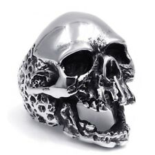 Rock punk Skull Fashion Jewelry Gift Mens Boys Stainless Steel Ring Band Silver