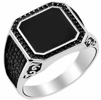 925 STERLİNG SİLVER ONYX BLACK STONE TURKISH   MENS MANS Ring US ALL SİZE