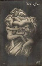 Metamorphic Fantasy - Nude Women Tete de Pipe Real Photo Postcard gfz