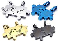 ID Partner Anhänger + Ketten 2 Puzzle Teile mit Gravur nach Wunsch in 4 Farben