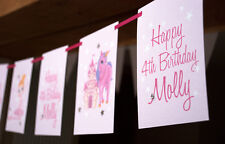 PERSONALISED FAIRY PRINCESS BUNTING BANNERS 1ST FIRST BIRTHDAY PARTY DECORATION