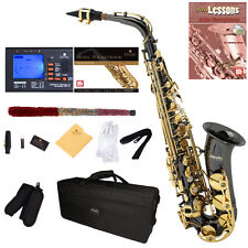 Mendini Black Nickel Body w/ Gold Keys Alto Saxophone Sax +Tuner+Book ~MAS-BNG
