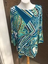 New $89 Chico's Travelers Mercer Blue Double Espresso Paisley Top 3 XL 16 18 NWT
