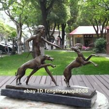 Western art deco Bronze Marble seminude Young Girl Woman Whippet Dog Sculpture
