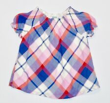 Baby Gap Lined Ruffled Smocked Plaid A-line Top, 4