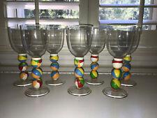 Super Cute Set Of 7 Summertime Outdoor Pool Patio Plasticware Beach Ball Glasses