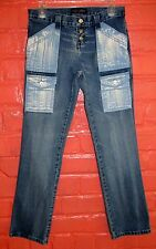 Victoria's Secret London Jeans Size 4 Acid Washed Pockets Cargo Button Fly Low