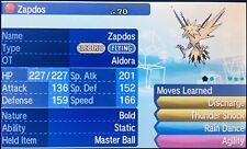 Non Shiny 6IV HP Ice Bold* Event Aldora Static Zapdos Pokemon Ultra/Sun/Moon