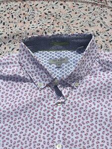 TED BAKER - White - Burgundy Geometric - Button Cuff - BYEJOE - Shirt - Size 5