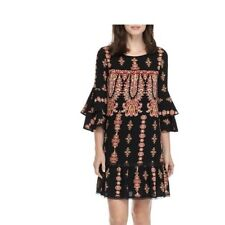 luxology women dress size 12 bell sleeve shift dress black multicolor NWT $95