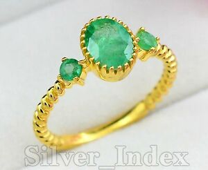 Natural Zambian Emerald Gemstone 14K Solid Yellow Gold Engagement Ring For Women