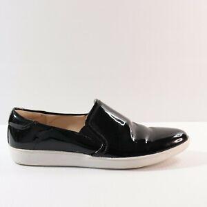 Nine West Size 7 M Black Patent Leather Flat Pointed Toe Flatform Loafer 37.5