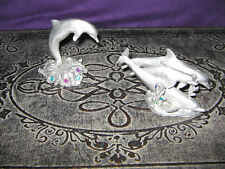�3pc set�Cci Comstock Pewter & Gems✧Dolphins Family✧sculpture statue figurines