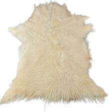 Authentique Peau de chèvre NATURE BLANC 75 x 65 cm cheveux longs