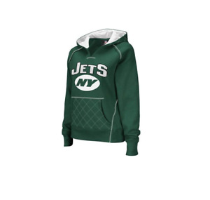 Reebok New York Jets Ladies Green Quilted Pullover Hoodie Sweatshirt