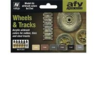 Vallejo Wheels And Tracks Model Air Set - Val71213 Av Paints 6 x 17ml Bottles