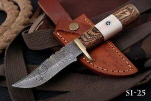 CUSTOM HAND FORGED DAMASCUS Steel Hunting Knife W/wood & Brass Guard Handle SI25