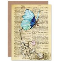 Birthday Upcycle Butterfly Rider Fantasy Dictionary Blank Greeting Card