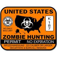 U.S. Zombie Hunting Permit Sticker  ヨ Zombies Apocalypse Dead Walkers