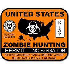 Us Zombie Hunting Permit Sticker Zombies Apocalypse Dead Walkers