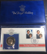 Great Britain ROYAL WEDDING 1981 COIN & FDC STAMP SET - with COA + Crown Coin!