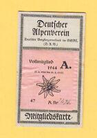 1944 ( Autogr. WOLF )  AUSWEIS Deutscher Alpenverein MEISSNER HOCHLAND DRESDEN