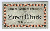 Mecklenburg-Schwerin 2 Mark Kriegsgefangene Lagergeld IX. Armeekorps Güstrow