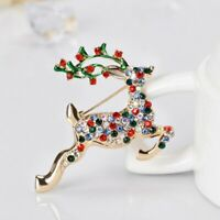 Christmas Deer Elk Branch Crystal Colorful Brooch Pin Charm Lady Jewellery Gifts