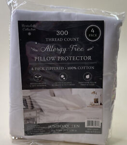 4 Count Pack Allergy Free Pillow Protectors Queen Size with Zippers, White