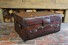 Solid Leather Edwardian Trunk Portamnteau Suitcase
