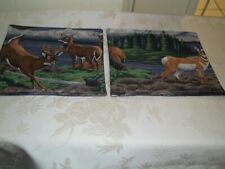 "New Handmade Set of Two Mug Rugs, Fabric, 7""x7"", Reversible, Deer Print"