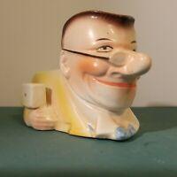 """Vintage Czech Pottery Toby Style Figural Man Creamer Pitcher 3"""" Czechoslovakia"""
