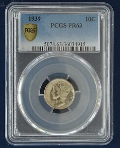 1939 Proof Mercury Dime graded by PCGS as PR-63