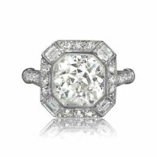 Art Deco Style 925 Sterling Silver White Round Handmade CZ Solid Ring for Women