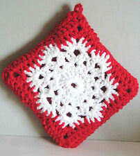 "NEW Hand Crocheted Red Snowflake Pot Holder Hot Pad Decor 8.5"" FREE SH"