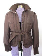 BEBE Jacket size Large Women Winter Coat Down Filled w/ Belt Brown Bomber L Lrg