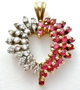 10K Yellow Gold Red Ruby & Diamond Heart Pendant for Necklace Heng Ngai W